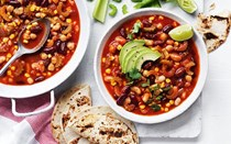 5-veggie and 3-bean chilli