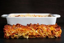 Abruzzese-style lasagna with meat sauce and mini meatballs