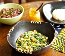 African-style spinach in peanut sauce