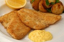 Almond-coated tarwhine fillets with new potatoes and saffron garlic mayo