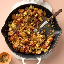 Apple cider chicken quinoa skillet