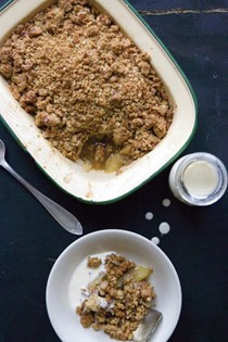 Apple crumble with a toasted crunchy topping