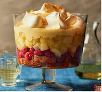 Apple, raspberry & whisky trifle