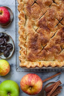 Apple slab pie with brandy and prunes