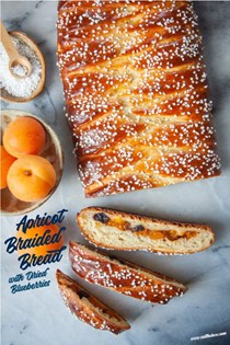 Apricot yeast bread with dried blueberries