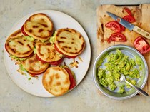 Arepas with feta, ancho and smashed avocado