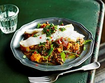 Argentine-style fish with caponata & chimichurri