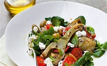 Artichoke and ricotta salad with honeyed preserved lemon dressing