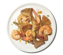 (Artichokes with) shrimp and garlic