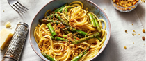 Asparagus and anchovy pasta with fennel seed pangrattato