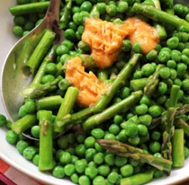 Asparagus and peas with miso butter
