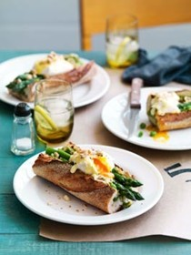 Asparagus, poached egg and Taleggio baguette