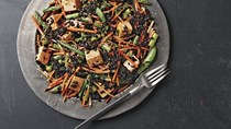 Asparagus, snap pea, and black rice salad with gochujang dressing