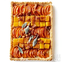 Autumn sweet potato and butternut squash tart