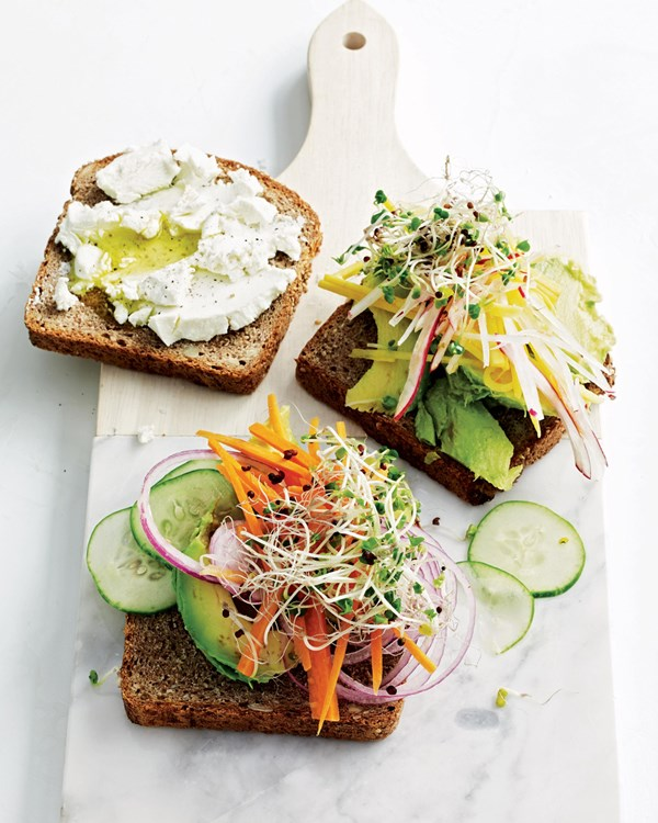 Avocado-and-sprout club sandwiches (page 199)