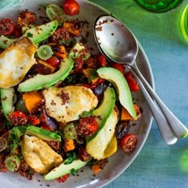 Avocado, pumpkin, haloumi and quinoa salad