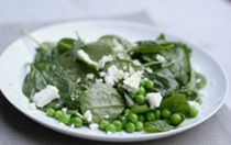 Baby spinach, fresh pea and feta cheese salad