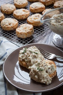 Bacon and cheddar biscuits and gravy