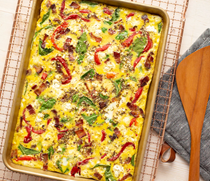Bacon and kale sheet pan eggs