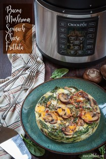 Bacon, mushroom, spinach and cheese frittata