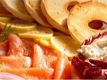 Bagels with smoked salmon and whitefish salad