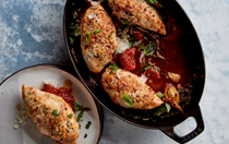 Baked chicken with crispy Parmesan and tomatoes