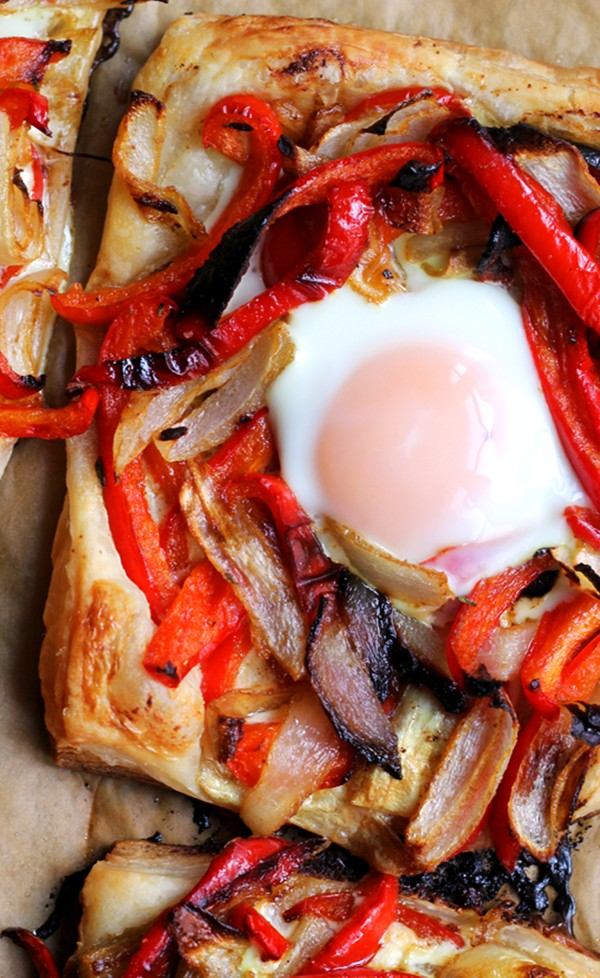 Baked egg with red peppers