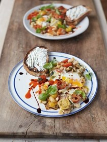 Baked eggs with popped beans, cherry tomatoes & ricotta on toast
