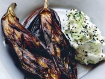 Baked finger aubergines, yoghurt and cucumber