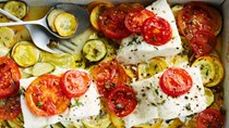 Baked fish with summer squash