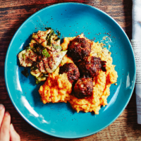 Baked lamb meatballs with sweet potato mash and grilled courgettes