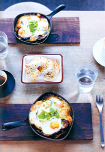 Baked miso eggs with roasted eggplant and pumpkin