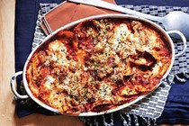 Baked ravioli with chorizo, onion and thyme breadcrumbs
