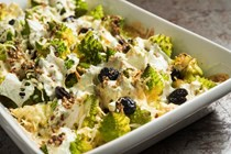 Baked Romanesco broccoli with mozzarella and olives