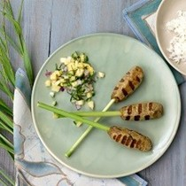 Balinese minced fish satay (Satay lilit) with pineapple salsa
