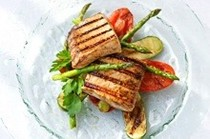 Balsamic-marinated swordfish steaks with seared vegetables