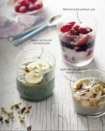 Banana, spirulina, and toasted pistachio chia seed puddings