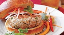 Banh mi pork burgers with carrots & cilantro [Carla Hall]