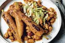 Barbecue carrots with slow-cooked white beans [pikliz, BBQ seasoning]