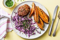 Barbecue pork meatloaves with creamy cabbage slaw and sweet potato wedges
