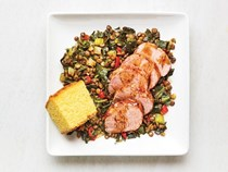 Barbecue pork tenderloin with collards and lentils