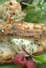 Barbecued bluefish with smoked shrimp butter