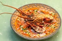 Barbecued lemongrass rocklobsters with cucumber salad