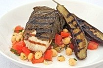 Barbecued queenfish in vine leaves with chickpea and fennel salad