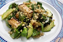 Barley, tofu and spinach salad with miso dressing