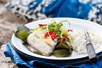 Barramundi in banana leaf with coconut rice