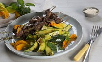 BBQ lamb on rosemary skewers with grilled zucchini salad