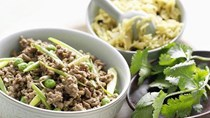 Beef keema with cumin and currant pulao
