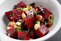 Beet and macadamia poke