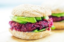 Beet, quinoa, black bean and flaxseed burgers